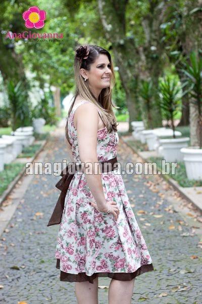 Vestido Floral Marrom Adulto para Festa