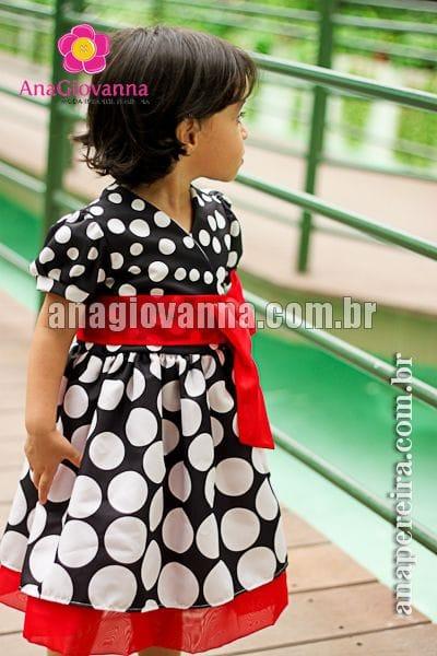 Vestido da Minnie Preto de Bolinhas Brancas