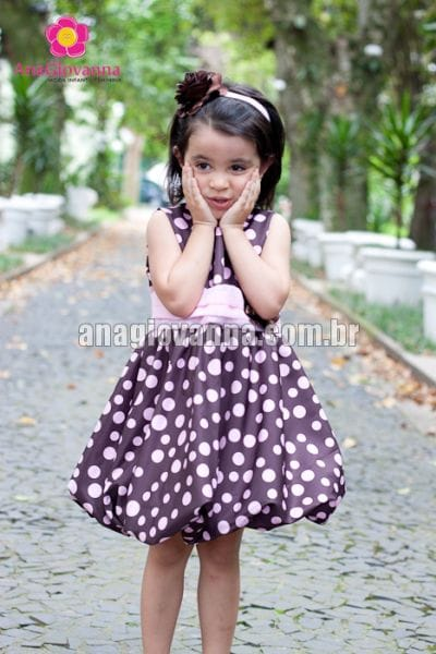 Vestido marrom e rosa balonê baby