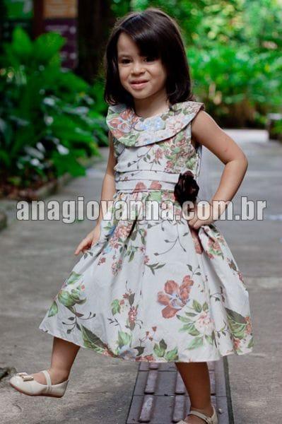 Vestido Festa Floral Marrom Infantil