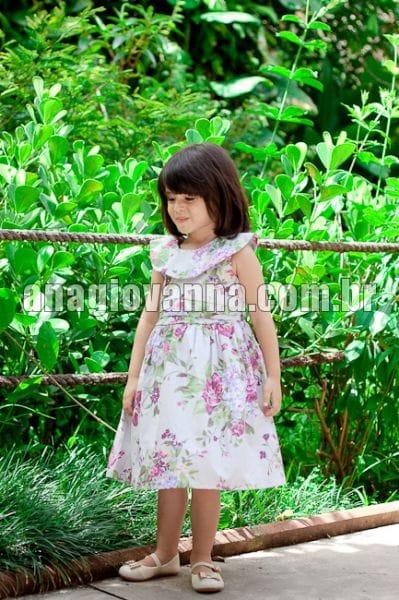Vestido Infantil Floral Lilás