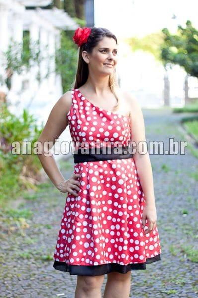 Vestido da Minnie Vermelha Adulto Alça Única