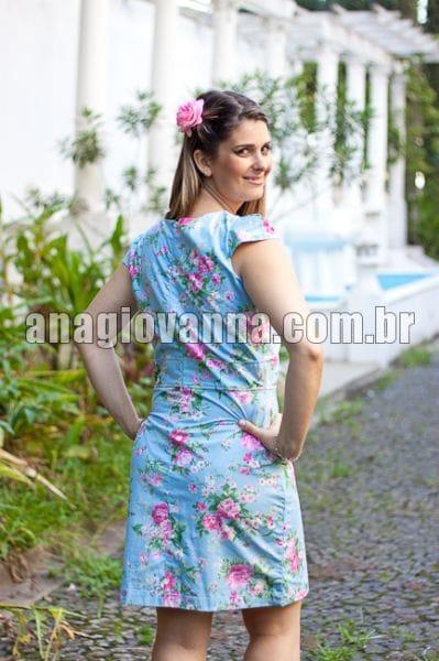 Vestido para festa adulto Floral Azul