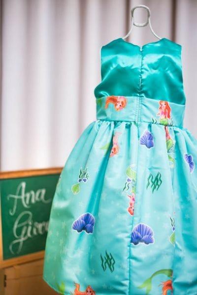Vestido Pequena Sereia para festa infantil