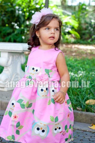 Vestido para Festa Infantil Corujinha de Aniversário