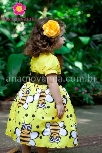 Vestido Abelhinha infantil para festa