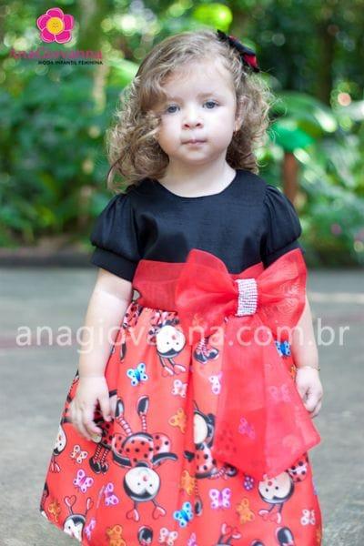 Vestido Joaninha infantil para festa