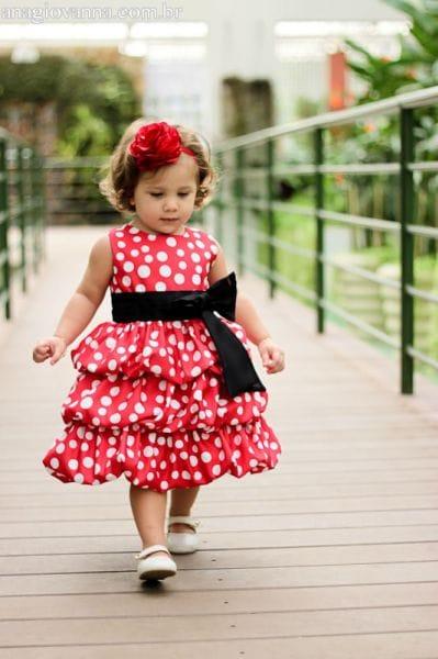 Vestido Aniversário da Minnie Vermelha Balonê