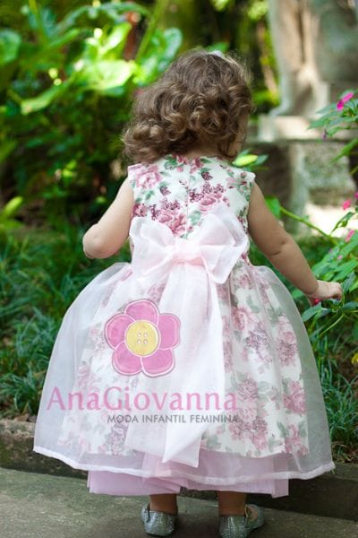 Vestido Infantil para festa de Princesa Floral