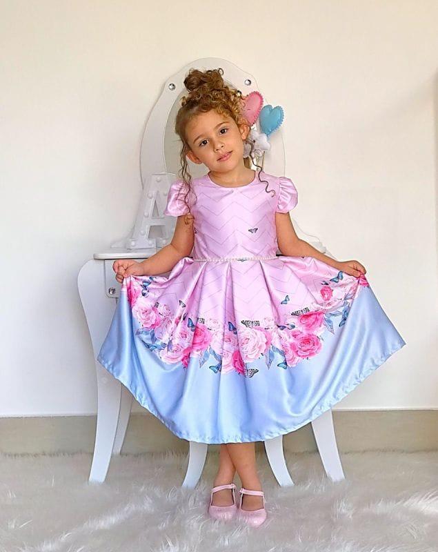 Vestido para Festa Infantil Rosa Floral