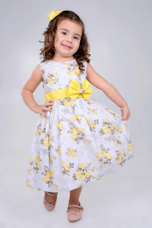 Vestido Infantil de Tricoline Floral