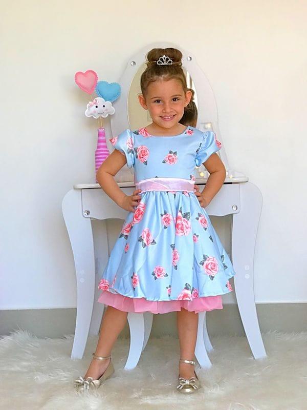 Vestido para Festa Infantil Azul Floral