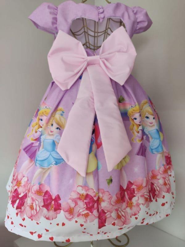 Vestido infantil de Festa Princesas da Disney