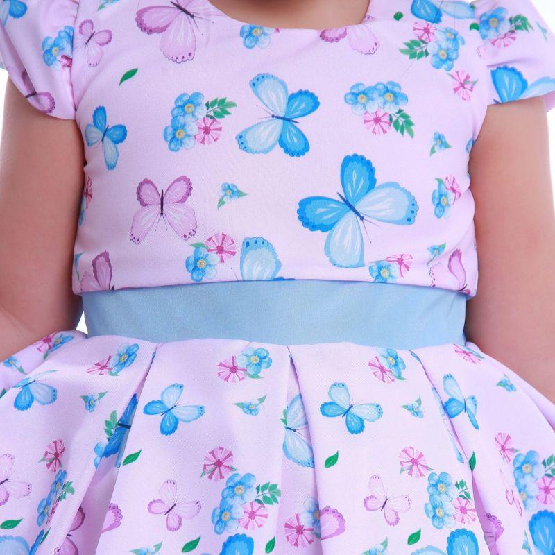 Vestido Infantil de Festa com Borboletas