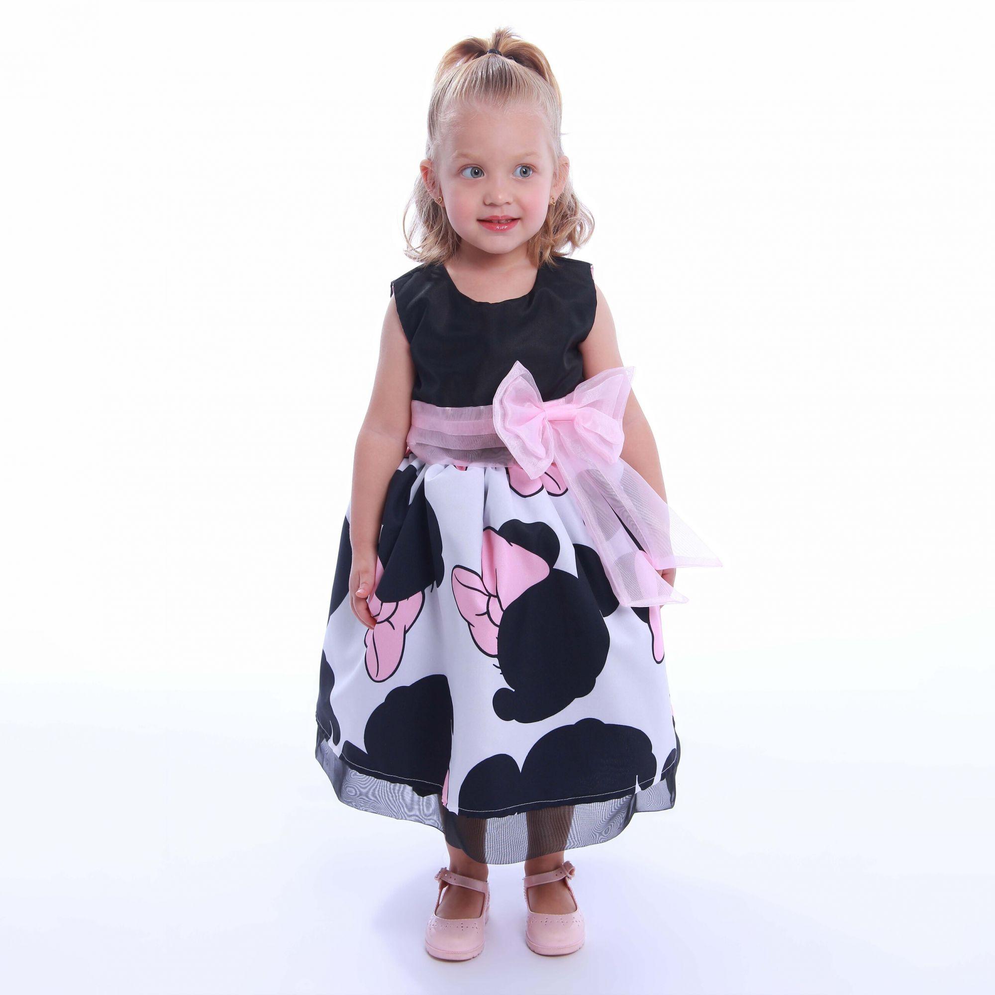 Vestido da Minnie rosa com preto