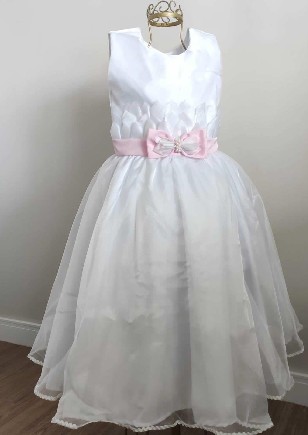 Vestido de Daminha Branco Com Laço Rosa