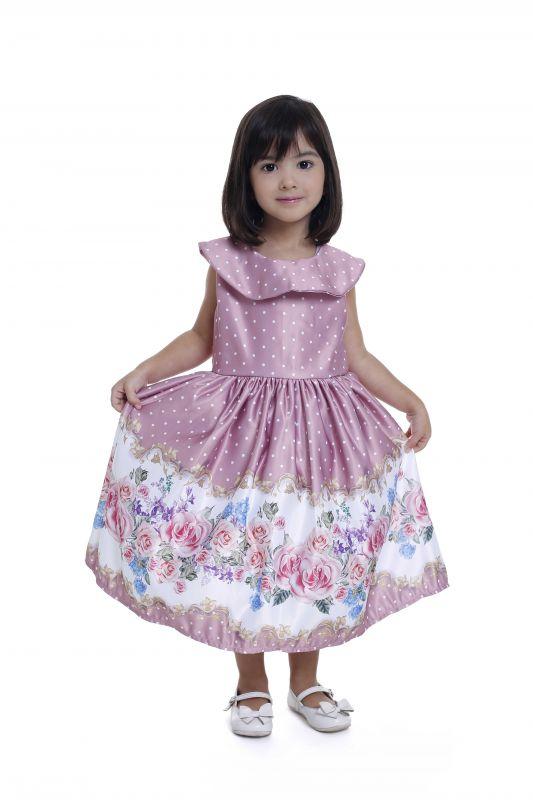 Vestido Infantil Floral Rose