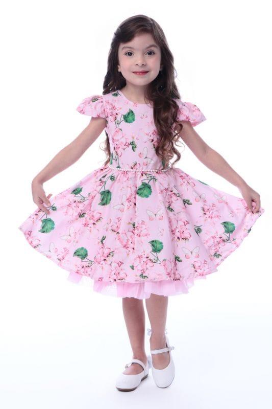 Vestido Festa Infantil Borboletas e Flores