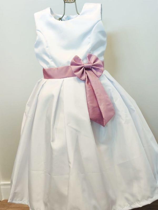 Vestido de Dama de Honra Branco com Rose