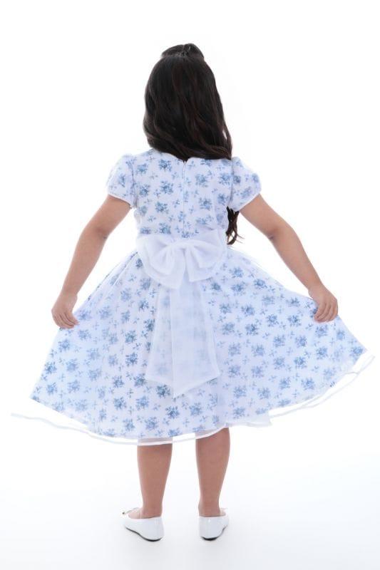 Vestido de Dama de Honra Florido Azul