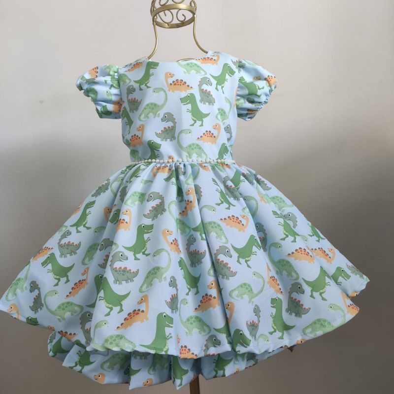 Vestido Infantil Festa Dinossauro