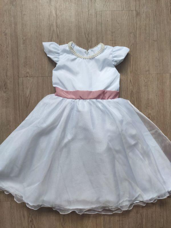 Vestido Infantil Daminha Branco com Laço Rose
