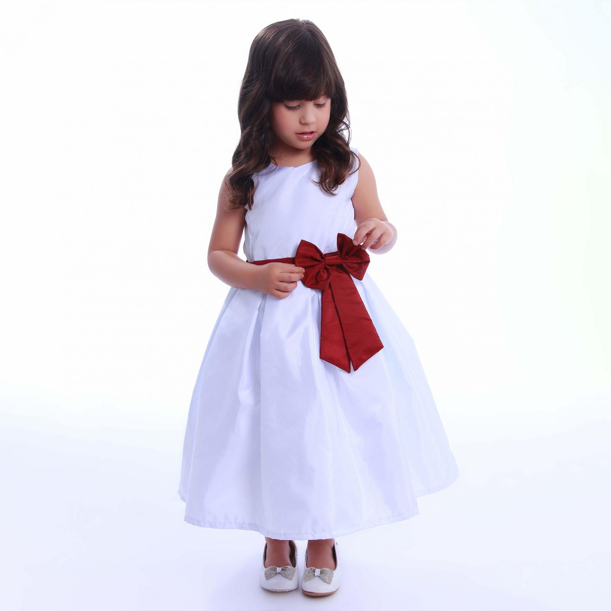 Vestido de Dama de Honra Branco com Marsala
