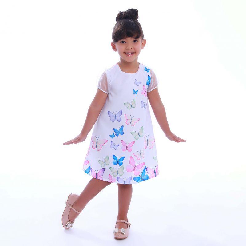 Vestido Infantil Jardim das Borboletas Trapézio