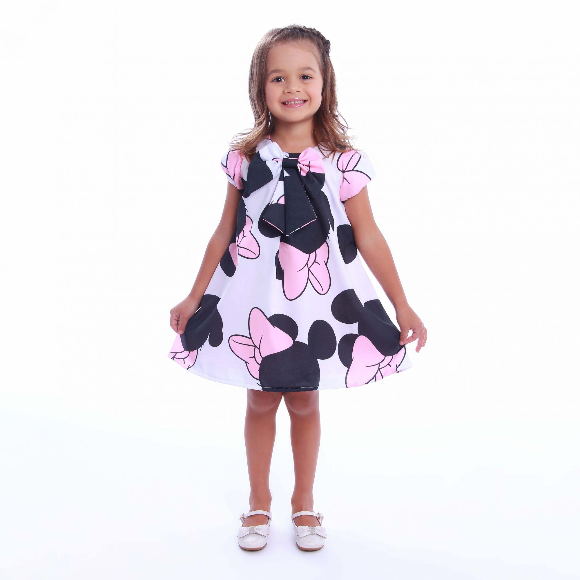 Vestido Minnie Rosa Trapézio