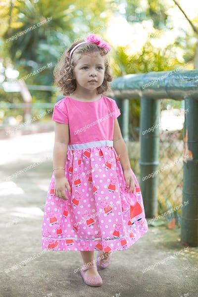 Vestido Infantil Peppa Rosa