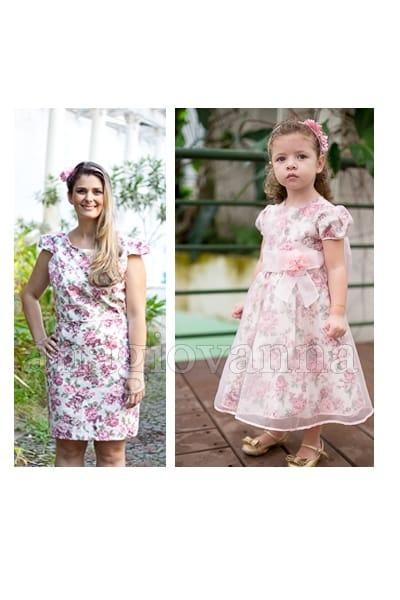 Vestidos M�e e Filha Floral Rosa