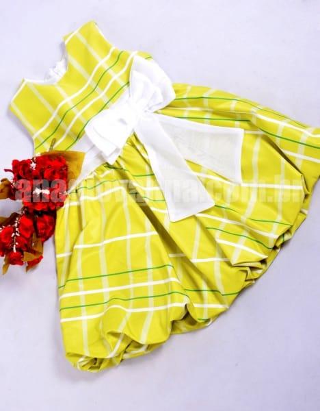 vestido xadrez infantil amarelo limão