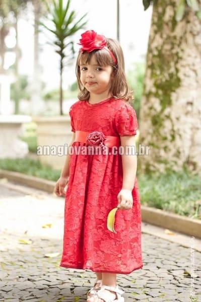 Vestido Infantil de Renda Vermelho com mangas