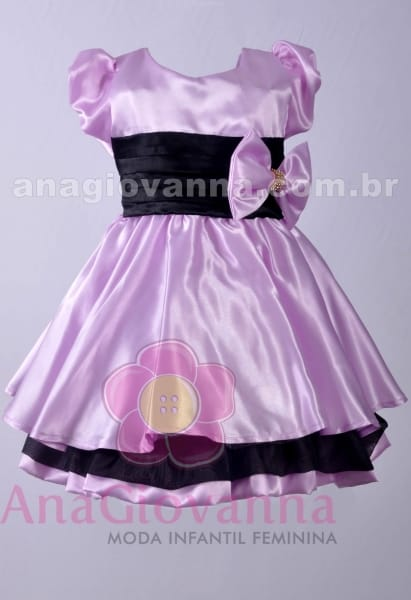 Vestido de festa infantil lil�s e preto
