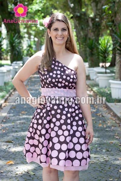 Vestido adulto Marrom com rosa