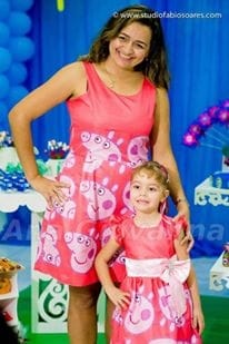 Vestido M�e e Filha da Peppa