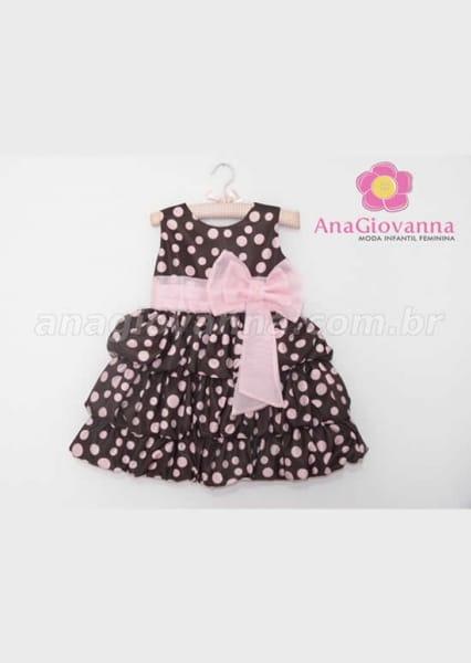 vestido infantil das ursas marrom e rosa