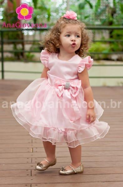 Vestido Infantil Princesa Rosa