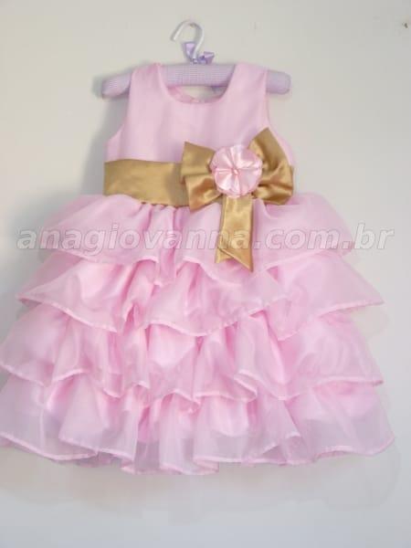 Vestido Princesa Rosa e Dourado