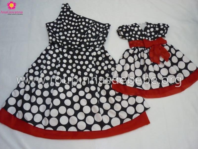 Vestidos Mãe e Filha Preto de Bolas Brancas Degradê
