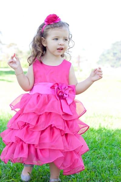 Vestido Infantil de Babados Pink