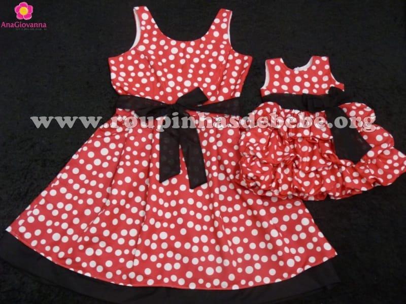 Vestidos Mãe e Filha Minnie Mouse Vermelho