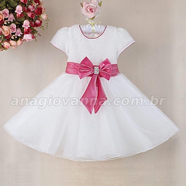 vestido infantil branco e rosa