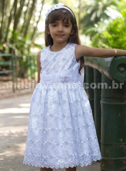 Vestido infantil de Renda Branco Luxo