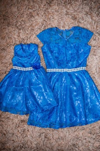 Vestidos Mãe e Filha Azul de Renda