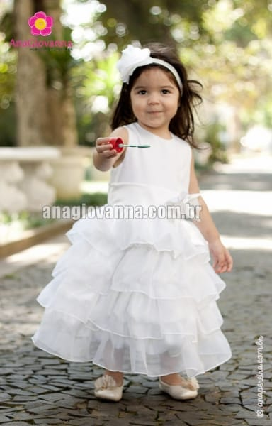 Vestido Princesa Infantil Branco