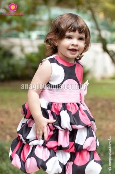 Vestido Minnie Preto com Bolas Coloridas