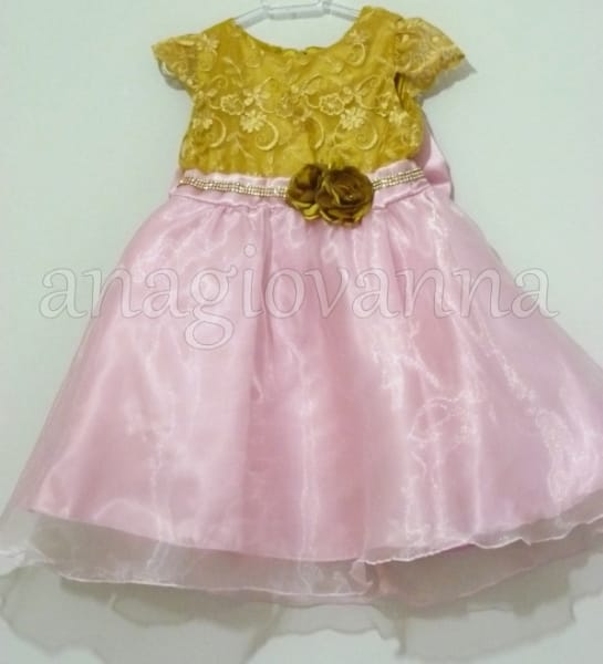 Vestido Infantil Princesa Rosa e Dourado