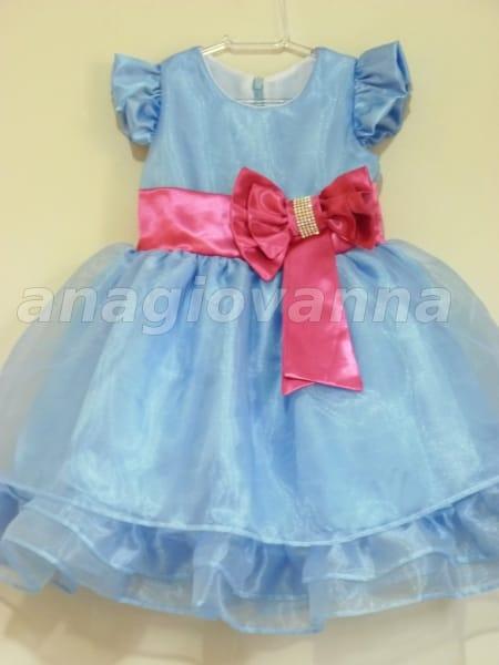 Vestido Infantil Azul e Rosa