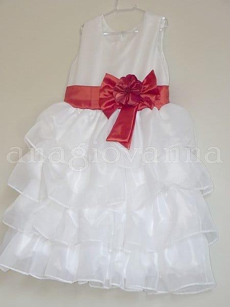 Vestido Infantil branco com Vermelho